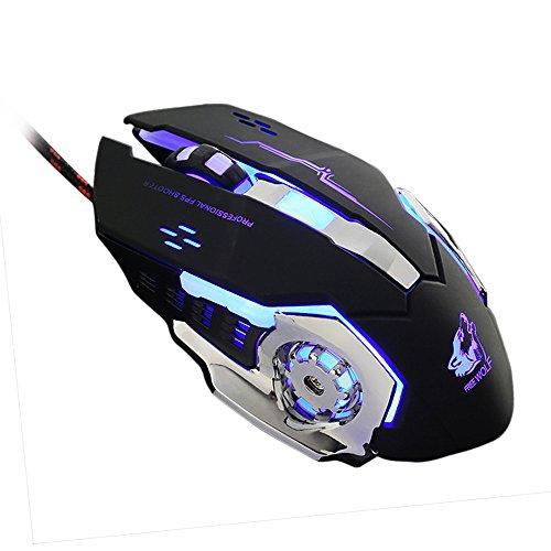 FEDULK Wired Mice LED Light 4000DPI Optical USB Ergonomic Pro Gamer Gaming Metal Plate Mouse(Black)
