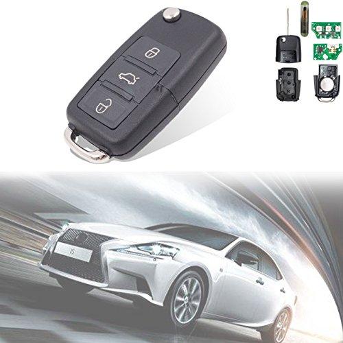 TUINCYN télécommande d'entrée sans clé de Voiture de Remplacement Puce Id48 434 MHz Porte-clés avec 3 Boutons 1 K0 959 753 G pour Skoda Volkswagen Seat (Lot de 1)