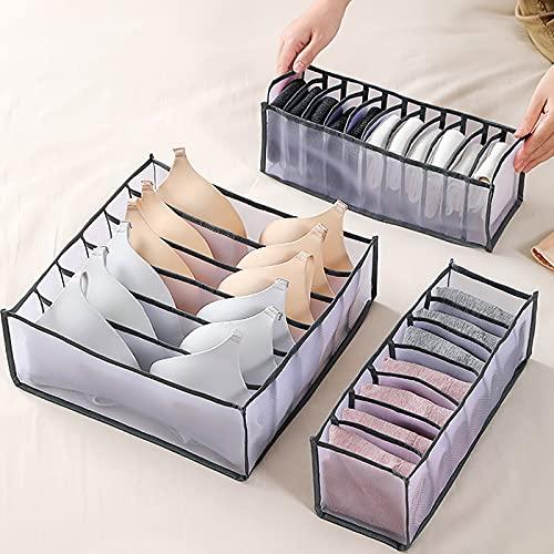 3 Pack Organizador de Ropa Interior Plegable Organizador de Armario Plegable cajón Armario Plegable Separador de Cajón para Sujetador Braga Calcetines,para Almacenar Calcetines,Bufandas,Sujetador