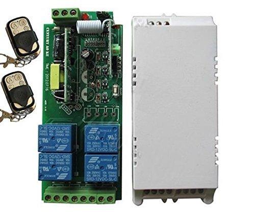 Yet – ontvanger 4-kanaals CH 220 V (ingang 220 V en uitgang 220 V) voor automatische deuropener + 2 afstandsbedieningen voor automatische deurautomaat en rolgordijnen – frequentie 433 MHz