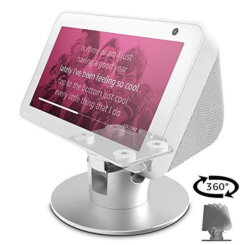 Echo Show 5 Adjustable Aluminum Swivel Stand, Stand for Amazon Echo Show 5, Horizontal 360 Rotation Longitudinal Angle Change Base -White
