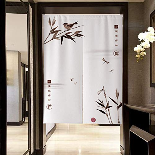 MYRU Japanese Curtain Noren Japanese Curtain for Restaurant Closet Door Entrance Feng Shui Doorway Curtain (Bamboo and Bird,33.5 Inches x 59 Inches)