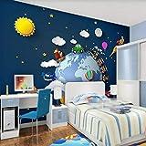 TOORY mural 3D Papel Tapiz Papel Pintado De Foto Coche De Dibujos Animados Universo Estrellado Planeta Bebé Dormitorio Decoración De Habitación De Niños Calcomanías De Pared-430cmx300cm(LxA)