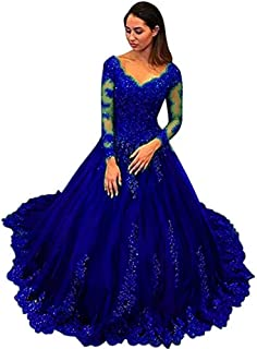 Women's Off Shoulder Lace Prom Dress Long Sleeves Ball Gown For Bride