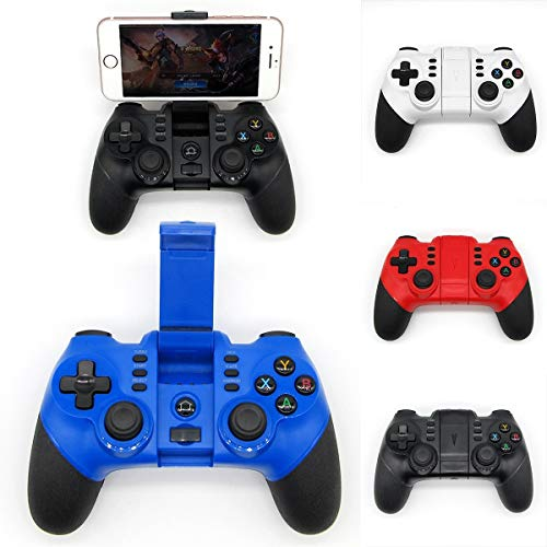 Wallfire Gamepad Gamepad Controlador inalámbrico Bluetooth Gamepad Joystick para iPhone Android Phone Win XP Tablet PC (Color : Azul)