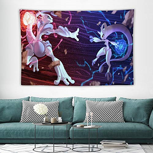 Tapestry,mewtwo mega X Y,Best children birthday present,Cartoon Anime Wall Hanging Art for Bedroom Living Room College Dorm Home Decor,60x40 inches