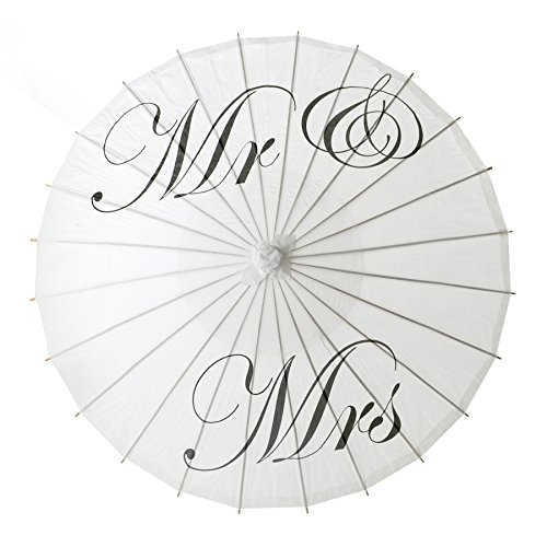 Aspire White Wedding Paper Parasol Umbrella Wedding Party Decoration Bridal Showers Photo Shoots - Mr Mrs,1 Pc