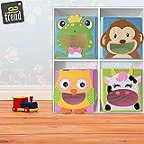 4 Stück TE-Trend Textil Faltbox Spielbox Tiermotive Frosch Affe Eule Kuh Aufbewahrung Truhe für Spielzeug faltbar 28 x 28 x 28 cm - 7