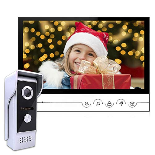 AMOCAM Wired Video Doorbell Intercom System, 9 Inches Monitor Video Doorbell Door Phone Kits with HD Camera Support Unlock, Monitoring, Dual-Way Intercom for Villa Home Office Apartment