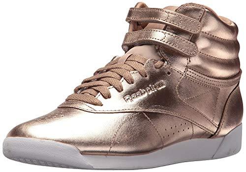 Reebok Women's F/S Hi Metallic Walking Shoe, Rose Gold/White/Silver Peony, 8.5 M US