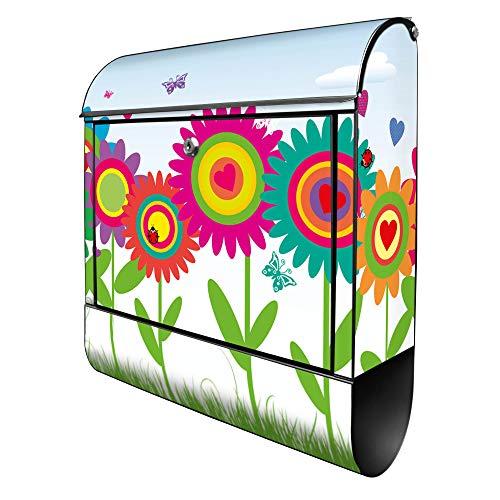 Banjado Design Briefkasten mit Motiv Bunte Blumen | Stahl pulverbeschichtet mit Zeitungsrolle | Größe 39x47x14cm, 2 Schlüssel, A4 Einwurf, inkl. Montagematerial