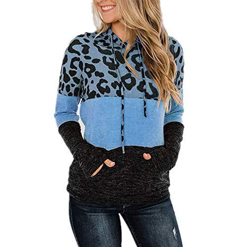 Sweatshirts for Women Stitching Crew Neck Loose Hoodies Long Sleeve T Shirts Spring Autumn Winter Blouse Custom Shirts Ladies Tops Drawstring Tunic Hoode
