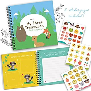Triplets First 5 Years Memory Book with Stickers - Baby 1st Year Milestone Photo Album - Newborn Hard Cover Journal - Babies Personalized Keepsake Scrapbook Diary - Record The Journey