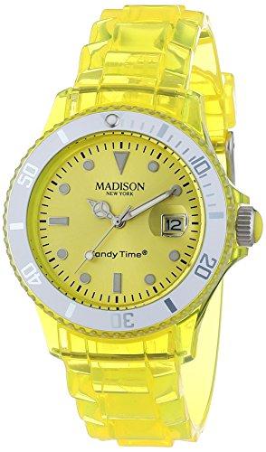MADISON NEW YORK Candy Time® Jelly Mix U4631-02/1 - Orologio da polso unisex, cinturino in plastica colore giallo