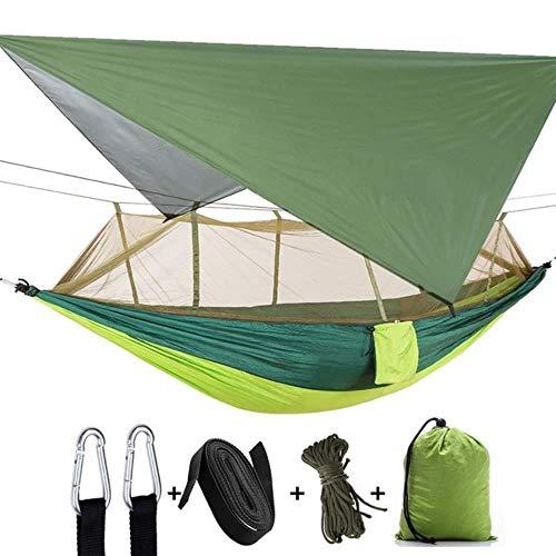 YRDDJQ Carpa Aérea para Acampar al Aire Libre Hamaca para 2 Personas con Mosquitera y Refugio Solar Hamacas Portátiles para Columpios con Paracaídas, Colorido Verde