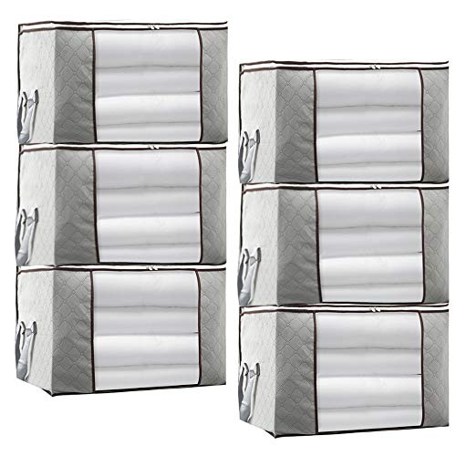 JERIA 6-Pack Grey Foldable Closet Organizer Clothing Storage Bags with Clear Window, Reinforced Handle and Sturdy Zipper (Size: 19' L X 14' W X 8' H)