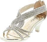 JJF Shoes - Zapatos abiertos de tacón con plataforma y pedrería para niña, modelo Angel-37K