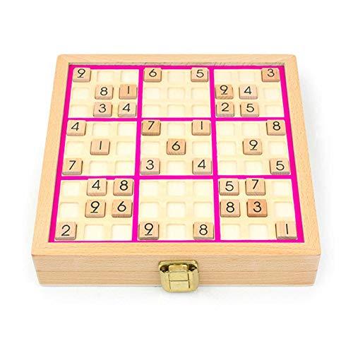 Juego De Regalo De Juego De Mesa De Madera Sudoku, Juego De Sudoku De Madera De Lujo, Rompecabezas De Matemáticas, Juguetes De Escritorio para Niños O Adultos HSGAV,Rosado