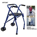Gehhilfen Senioren,Medical Gehhilfe Mit Vorderrädern,Mit 2 Rädern,Zusammenklappbar,Height Adjustable-Mit Sitz