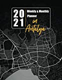 2021 Weekly & Monthly Planner: 12 Months calendar and Weekly Planner with a cover with a street map of the city Antalya