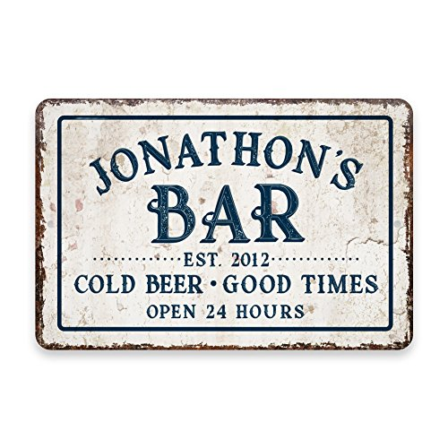 Pattern Pop Personalized Vintage Distressed Look Bar Cold Beer Good Times Metal Room Sign