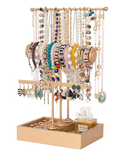 Jewelry Stand Jewelry Organizer Gold Jewelry Holder 3 Tier Jewelry Tree Stand Tower Rack Necklace Bracelet Holder Jewelry Display Stand Jewelry Tower with Ring Tray for Necklace Bracelets Watches Earrings Cosmetic