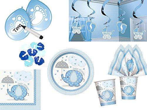 Diverse 44 TLG. Partyset für Babyparty Geburt Baby Boy Junge blau - Deko und Geschirr Elefant