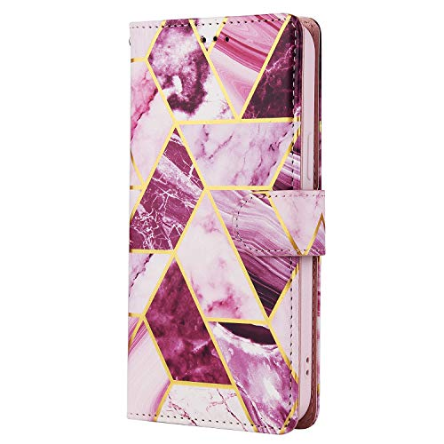 iPhone SE 2020 / iPhone 8 / iPhone 7 Hülle Marmor Glitzer Linie Stoßfest PU Leder Flip Wallet Handyhülle Magnetverschluss Folio Skin Ständer 3 Kartenhalter mit Gurt Charming Lila