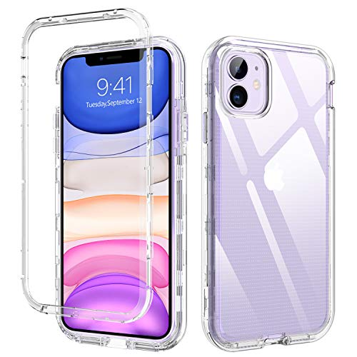 DUEDUE iPhone 11 Case, 3 in 1 Shockproof Drop Protection Heavy Duty Hybrid Hard PC Transparent TPU Bumper Full Body Protective Case for iPhone 11 6.1 inch(2019),Clear