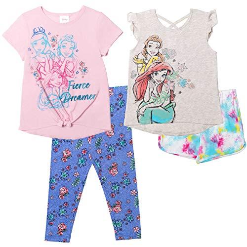 Disney Princesses Baby Girls 4 Piece Mix n' Match Shorts & Legging Set 18 Months White/Pink