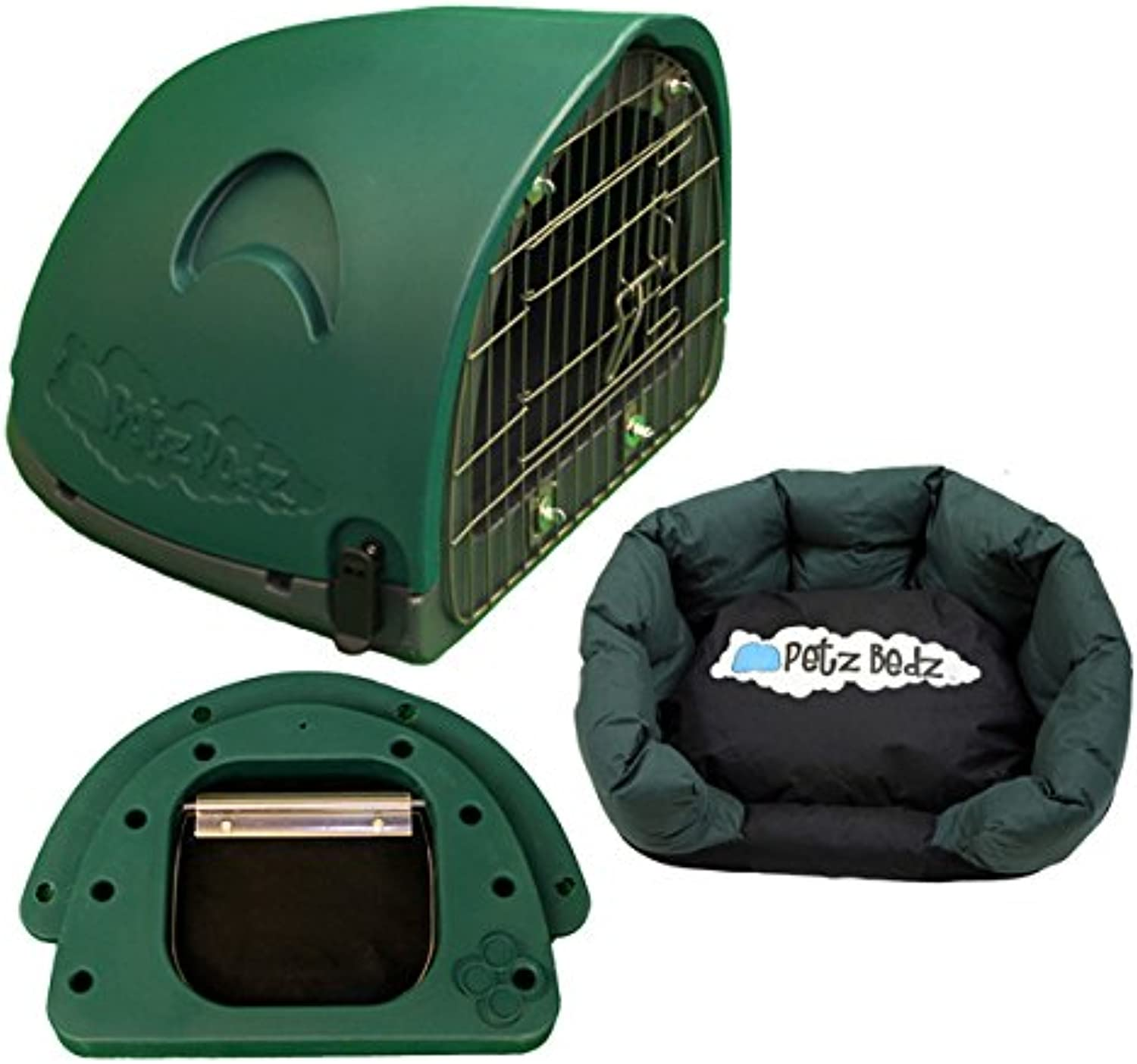 PetzPodz CAT POD with front grill green SMALL den cave kennel house bed indoor & outdoor designer plastic shelter crate and cat travel box