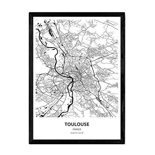 Nacnic Poster con Mapa de Toulouse - Francia. Láminas de Ciudades de Francia con Mares y ríos en Color Negro. Tamaño A3