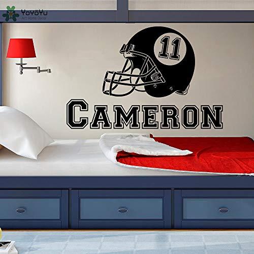 Ajcwhml American Football Helm personalisierte Namensaufkleber Kinderzimmer Jungenzimmer Schlafzimmer Art Deco abnehmbar - 121X79CM