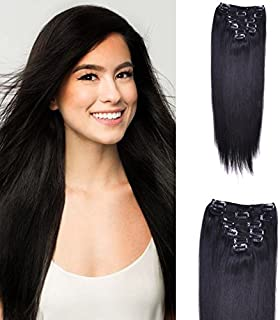 "TODO 22"" Straight Thick Long Synthetic Hair Extension Black 7Piece 16Clips"