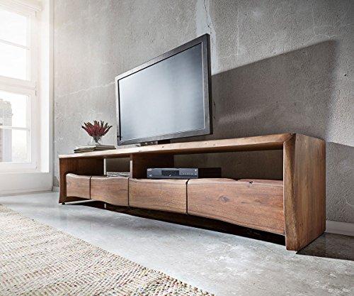 DELIFE Fernsehtisch Live-Edge Akazie Braun 230 cm 4 Schubkästen Baumkante Lowboard