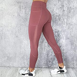 Jinqiuyuan Energy Seamless Sports Fitness Leggings Gym Running Workout Yoga Pants Women High Waist Tight Tummy Control Trouser Hip Pants (Color : Red, Size : M)