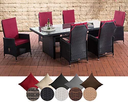 CLP Sevilla I - Conjunto de muebles de jardín (ratán plano, con 6 sillas ajustables, mesa de cristal, 220 x 92 x 75 cm)
