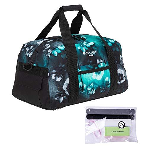 Elephant Sporttasche Damen Signature Fitnesstasche Tasche mit Schuhfach 47 cm 12800 + Nagelpflege Set (Flower (Türkis Schwarz Verlauf))