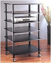 VTI AR406 6 Shelf Black Audio Rack-Black/Black - Black/Black