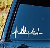 Bluegrass Decals Camping Tent Kayak Heartbeat Lifeline Decal Sticker C1162