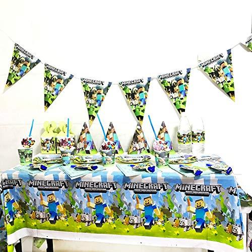 6 Invitados Kit CumpleañosJuego de mesa de juego de píxeles de minería, mantel para Baby Shower, suministros de decoración para fiesta de cumpleaños, servilleta de papel con logotipo, juego de vajilla