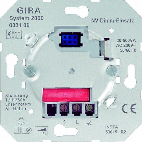 Gira 033100 NV-Dimm-Einsatz (Tastdimmer) System 2000, Memoryfunktion, 20-500 VA