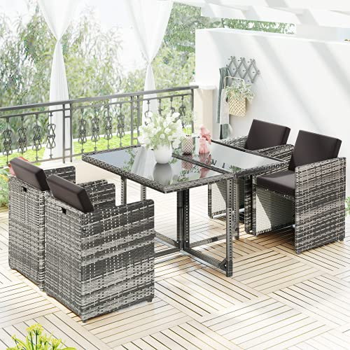 Juego de sofá de ratán, juego de comedor al aire libre, muebles de ratán de jardín, sofá, sillón, mesa de comedor y silla, juego de muebles de jardín al aire libre (5 piezas)