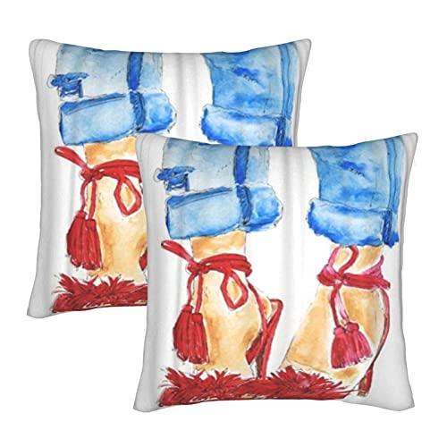 KENADVI Throw Pillow Covers Zapatos Rojos Blue Jeans Piernas de Mujer Chica Sexy Acuarela Dibujo de Trama Dibujo Funda de cojín acogedora Funda de Almohada Cuadrada para sofá de casa 18x18 Juego de 2