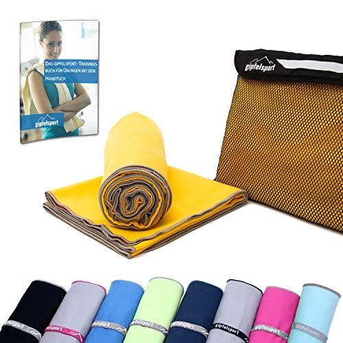 Mikrofaser Handtuch Set - Microfaser Handtücher für Sauna, Fitness, Sport I Strandtuch, Sporthandtuch I Gelb | 1x S(80x40cm)
