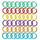 Zeaye 150 pezzi Raccoglitore in plastica ad anelli a fogli mobili multicolore Raccoglitore in plastica Anelli flessibili per carte, documenti e impilabili casa o ufficio scolastici, 6 colori 27 mm