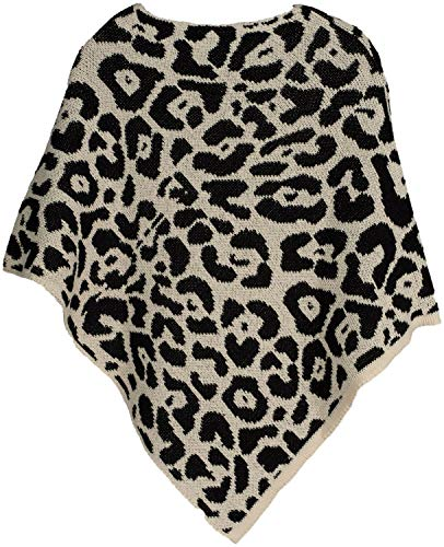 styleBREAKER Poncho da Donna in Maglia fine con Motivo Leopardato, Stampa Animalier, Girocollo 08010057, Colore:Grigio-Blu