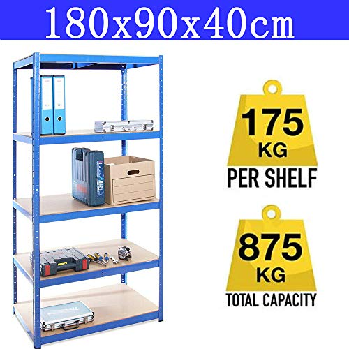 Boltless Garage Shelving Units Storage Shelves Metal 180cm Wide 90cm Deep 40cm High - Black Garage Shed Racking Storage Workbench - 875KG Capacity (175KG Per Shelf) Workshop Shed Office