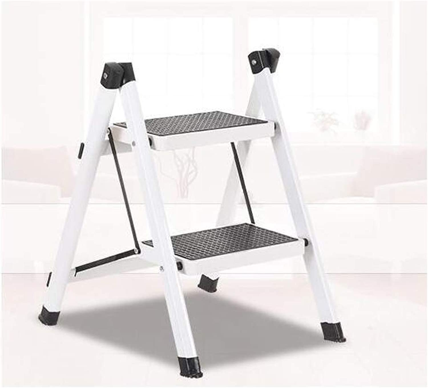 WaWei Ladder Stool Kitchen Ladder Home Folding Ladder Stool Dormitory Upper Stairs Multi-Function Small Hanging Ladder Two Steps Horse Stool Two-Step Ladder Step Stool (color   White)