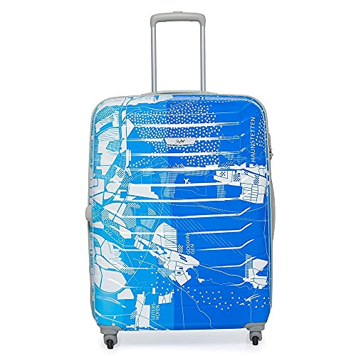 Skybags Trooper 75 Cms Polycarbonate Blue Hardsided Check-in Luggage- Blue & White